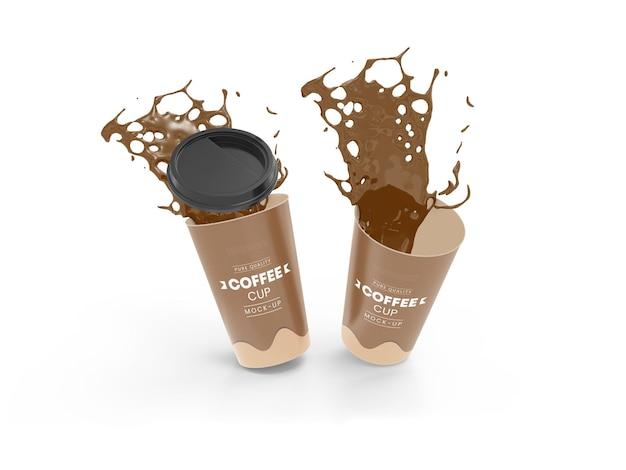 Makieta papierowych filiżanek kawy na wynos