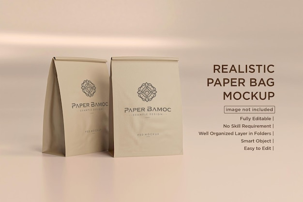 Makieta papierowych torebek do kawy