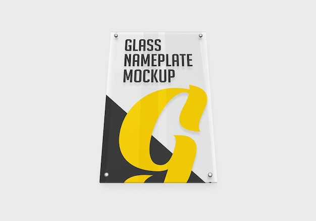 Makieta pionowej szklanej tabliczki znamionowej na białym tle