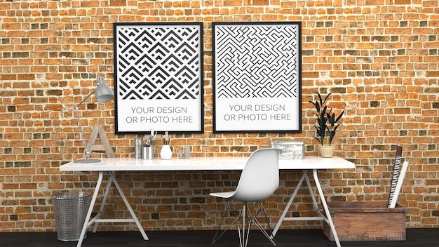 Makieta pionowych plakatów w nowoczesnym biurze domowym z czerwonej cegły