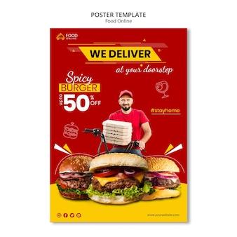 Makieta plakat koncepcja żywności online
