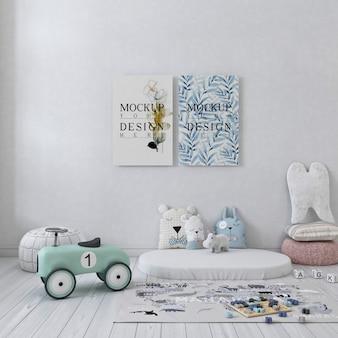 Makieta plakat na płótnie w białej prostej sypialni dla dzieci