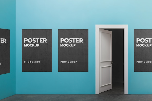 Makieta plakat na ścianie i drzwi otwarte
