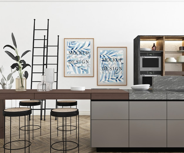 Makieta plakat w nowoczesnej otwartej kuchni