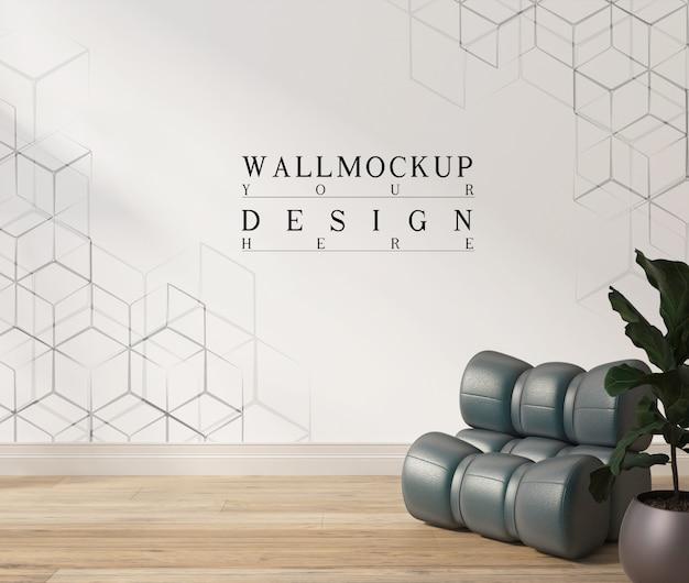 Makieta plakat w nowoczesnym białym salonie z fotelem