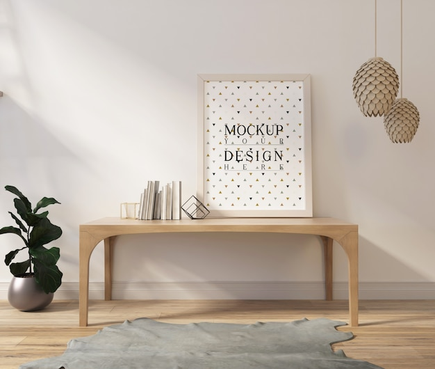 Makieta plakat w nowoczesnym białym salonie ze stołem i książkami