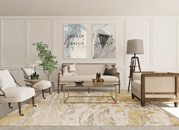 Makieta plakat w nowoczesnym klasycznym salonie z sofą