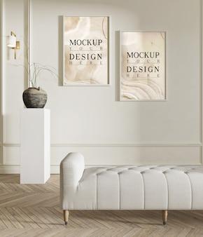 Makieta plakat w nowoczesnym salonie z ławką