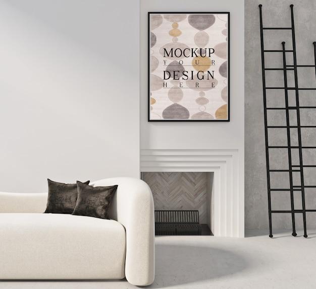 Makieta plakat w nowoczesnym salonie z sofą