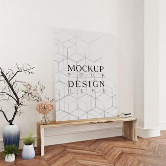 Makieta plakat we wnętrzu z długim stołem i donicy