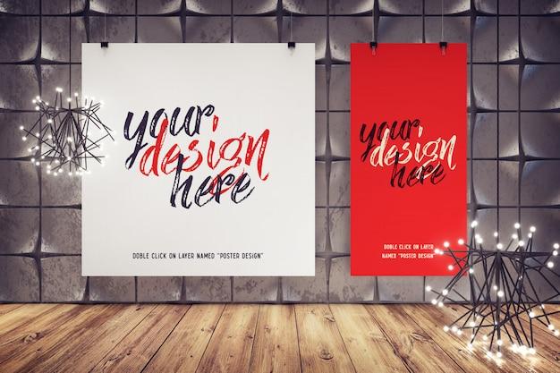 Makieta plakatów wiszących w nowoczesnym wnętrzu