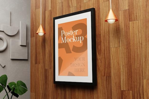 Makieta plakatu a3 na drewnianej ścianie