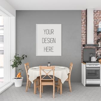 Makieta plakatu, kuchnia z ramą pionową, wnętrze skandynawskie