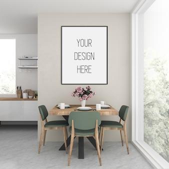 Makieta plakatu, kuchnia z ramą pionową