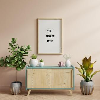 Makieta plakatu na szafce w pokoju