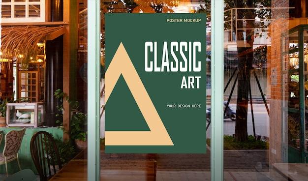 Makieta plakatu promocyjna umieszczona przed restauracją
