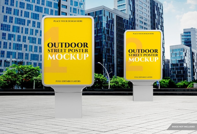 Makieta plakatu reklamowego na zewnątrz miasta