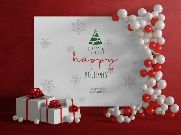 Makieta plakatu świątecznego z dekoracją balonu i prezentami świątecznymi na białym tle
