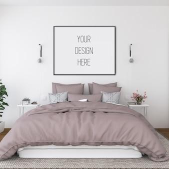 Makieta plakatu, sypialnia z poziomą ramą