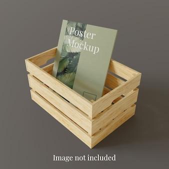 Makieta plakatu w drewnianym pudełku do przechowywania