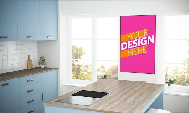 Makieta plakatu w ramce na niebieskiej ścianie w kuchni