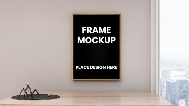 Makieta plakatu w ramce na ścianie z czarną ramką
