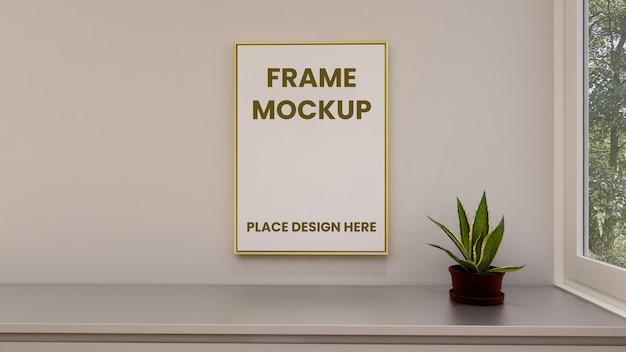 Makieta plakatu w ramce na ścianie z minimalistycznym wystrojem wnętrza