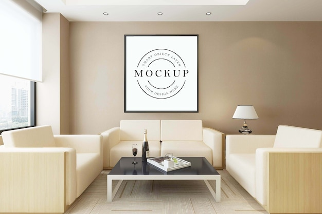 Makieta plakatu w ramce z wnętrzem pokoju