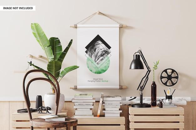 Makieta plakatu wiszącego na drewnie
