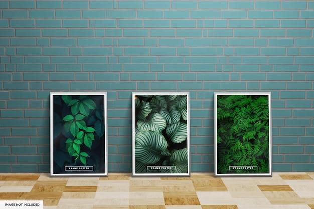 Makieta plakatu z ramą liścia z zieloną ścianą