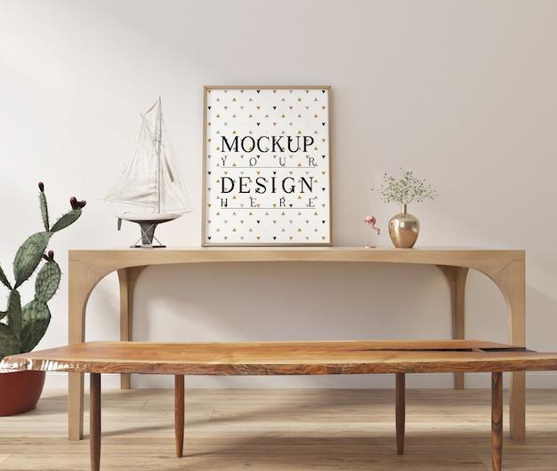 Makieta plakatu z ramą w nowoczesnym wnętrzu ze stołem i ławką