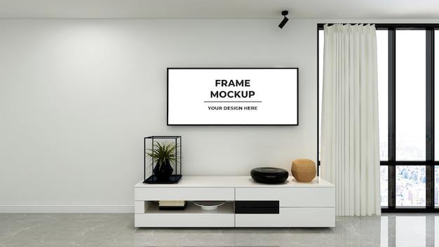 Makieta plakatu z ramą w salonie 3d wnętrza