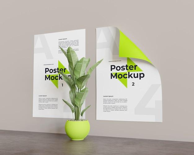 Makieta plakatu z rośliną w środkowym spojrzeniu po prawej stronie