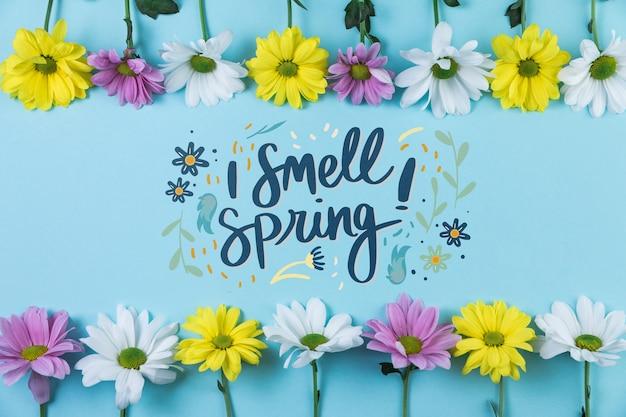 Makieta płaski świeckich wiosna z copyspace i ramki