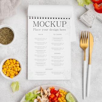 Makieta płaskiej zdrowej żywności