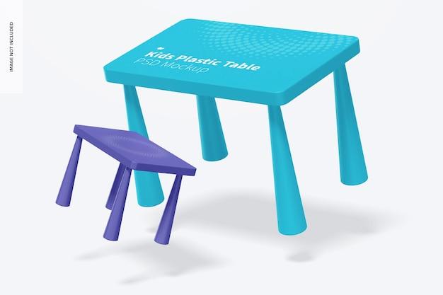 Makieta plastikowego stołu dla dzieci, spadająca