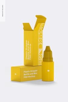 Makieta plastikowej butelki z zakraplaczem i pudełek
