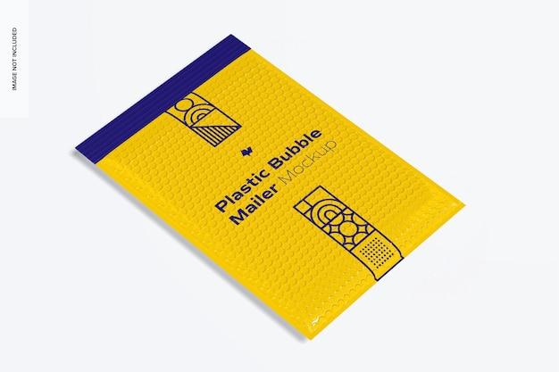 Makieta plastikowej koperty z bąbelkami, widok perspektywiczny