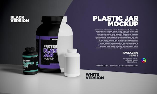 Makieta plastikowych słoików z białkiem i pigułkami