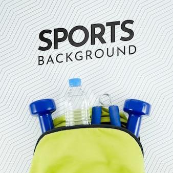 Makieta plecaka ze sprzętem sportowym