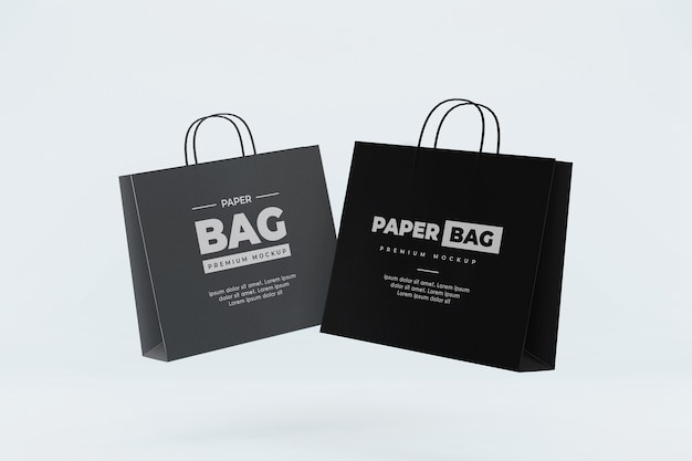 Makieta pływającej torby papierowej zakupy realistyczne czarno-szare