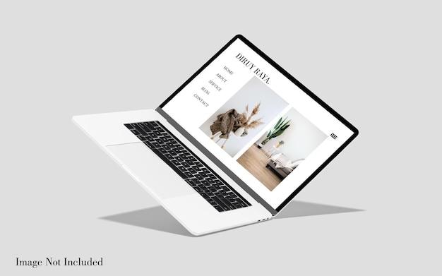 Makieta pływających ekranów laptopa macbook na białym tle