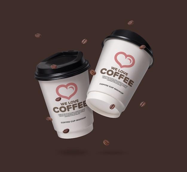 Makieta pływających filiżanek kawy z ziaren kawy