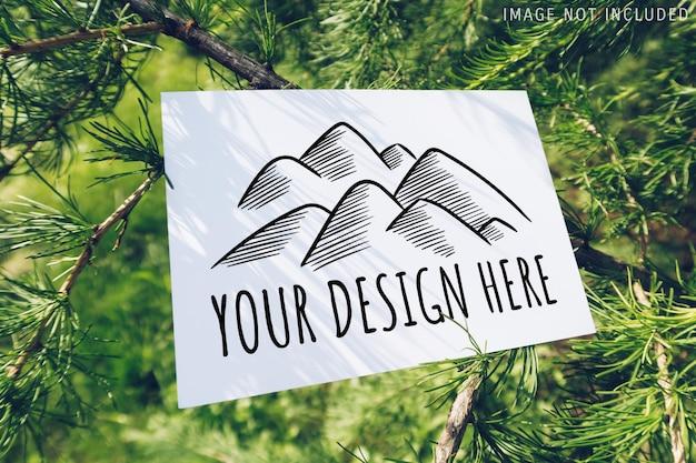 Makieta pocztówki na projekcie gałęzi modrzewia