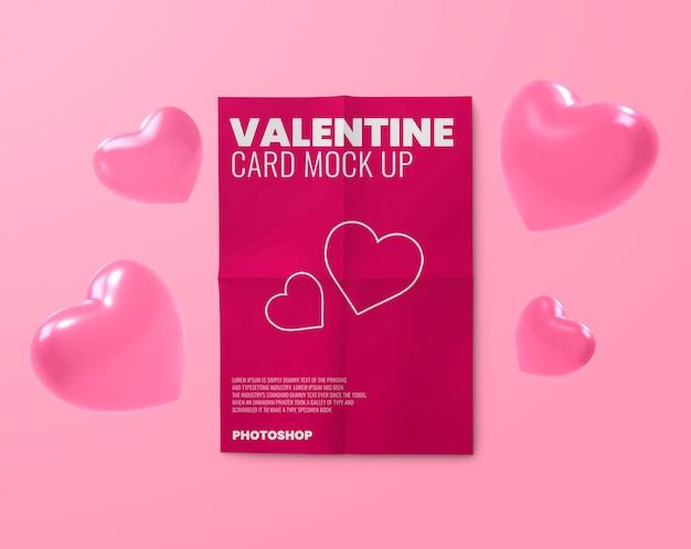 Makieta pocztówki na walentynki z kształtami serca