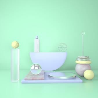 Makieta podium i marmurowy cokół z geometrycznymi kształtami renderowania 3d