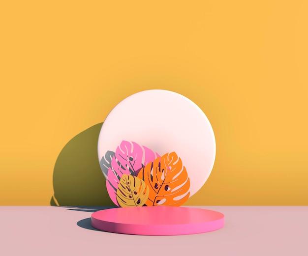 Makieta, podium, wyświetlacz z tłem roślin tropikalnych monstera, renderowanie 3d