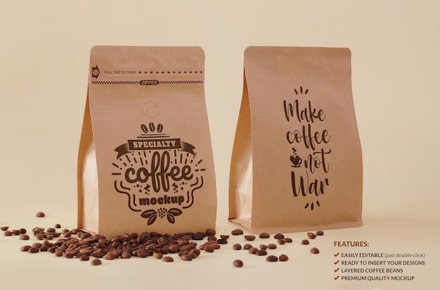 Makieta podwójnego opakowania kawy specjalistycznej do brandingu lub projektu