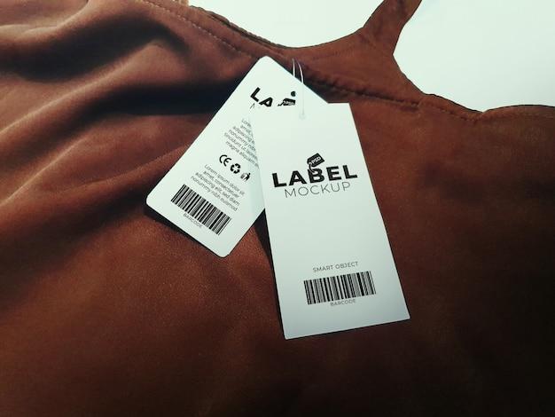 Makieta podwójnej metki i etykiety na ubrania