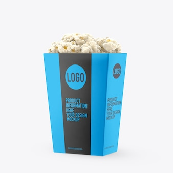 Makieta pojemnika na popcorn na białej przestrzeni